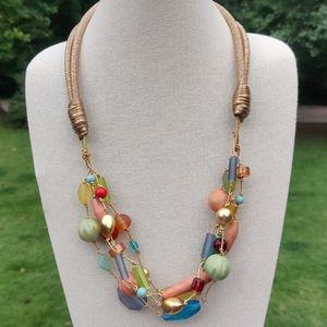 Long vintage colorful fruit salad necklace